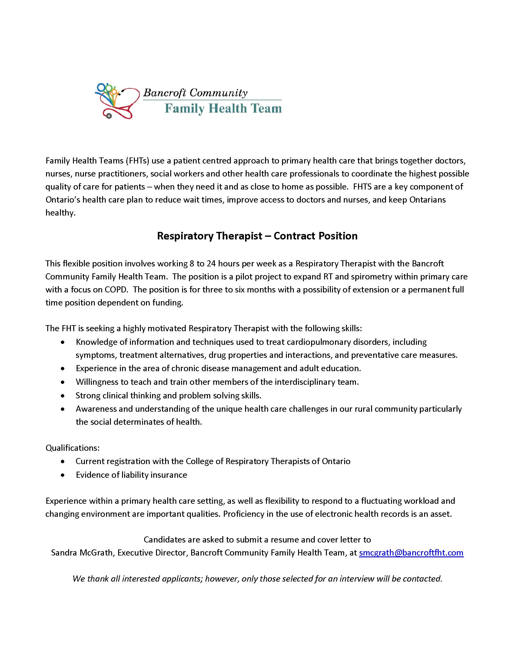 Employment Opportunities – Bancroft Family Health Team